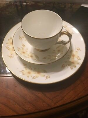 Crown Staffordshire Trio Set, Tea Cup, Saucer And Plate, Gold Rimmed