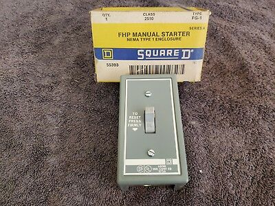 New In Box Square D Fhp Manual Starter 2510 Fg-1 Series A Nema Type 1 Enclosure