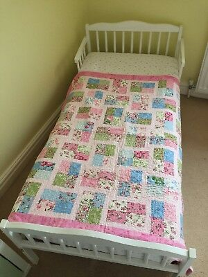 Handmade Girls/Baby Girls Pink Multi Floral Embroidered Cot/Toddler Quilt