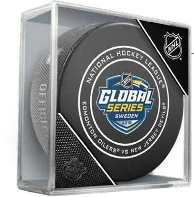 2018 Nhl Global Series Sweden Hockey Puck Official Game Cubed Devils Vs. Oilers