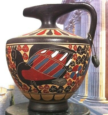 Lovely Hand-Made In Greece Hand-Painted Copy Of A 480 Bc Corinthian Jug / Vase