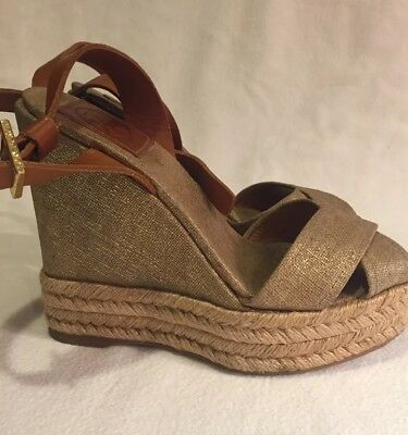 a4dcc853f 100% Authentic Tory Burch Wedge Heels Size 5 Super Cute! Linen Fabric