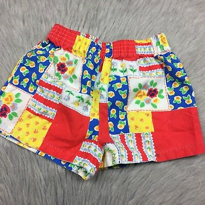 Vintage Toddler Girls 70s Red Blue Yellow Floral Patchwork Shorts