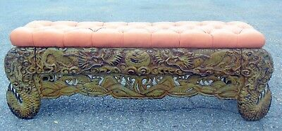 Antique CHINESE CARVED BENCH Seat DRAGONS Birds Clouds Ornate