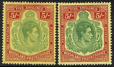 Nyasaland 1938 Kgvi 5/- Both Shades
