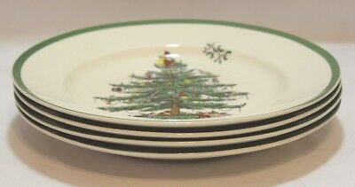 Spode Christmas Tree Porcelain Holiday Dinner Plates Set of Four Green Trim New