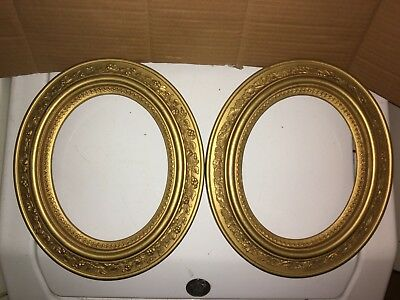ANTIQUE Victorian 1880's PAIR PICTURE Photo FRAME Gold GILDED Oval HIGH RELIEF