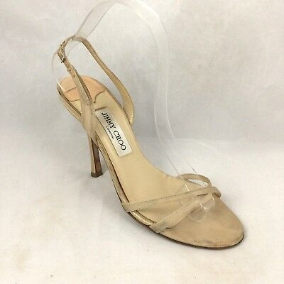 63d6fcaa1ae Jimmy Choo India Sandal Nude Beige Satin Criss Cross Open Toe Slingback  38.5 8.5