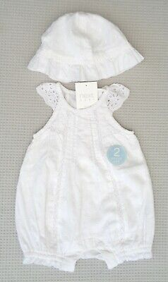 NEW BNWT NEXT Baby Girl White Broderie Anglaise Romper & Sun Hat 0-1m 0-3-6month