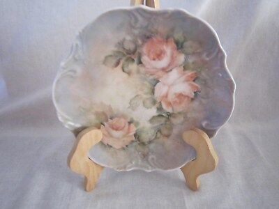 "Vintage Hand Painted Plate Roses Flowers Plate Signed approx 8"" Round Brown gray"