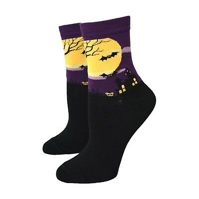 Hypnotic Socks Haunted House Women's Purple Halloween Novelty Socks