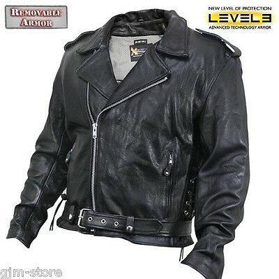 Xelement 5890 Armored Thick Soft Black Leather Classic Motorcycle Jacket