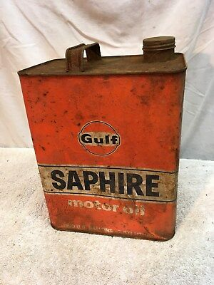 Vintage Metal 2 Gallon Gas Can GULF Oil Advertisement
