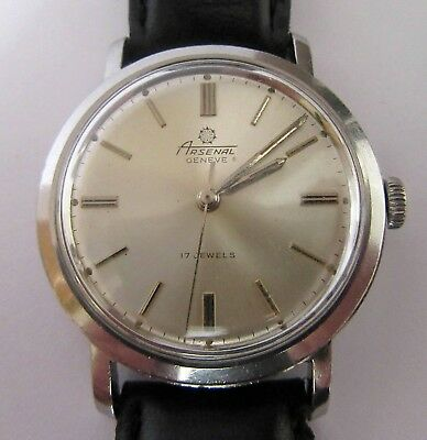 Vintage 17 Jewels Hand Winding Stainless Steel Watch Arsenal Geneve 1960s
