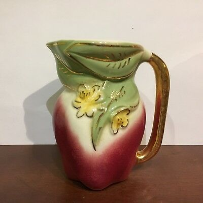 Vintage AMERICAN BISQUE USA POTTERY Red APPLE PITCHER w/ Gold Highlights