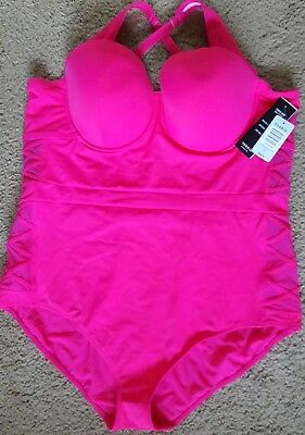 475350dbb04ee New Torrid Size 4X Swim Collection Hot Pink Lattice One Piece Plus Swimsuit  Nice