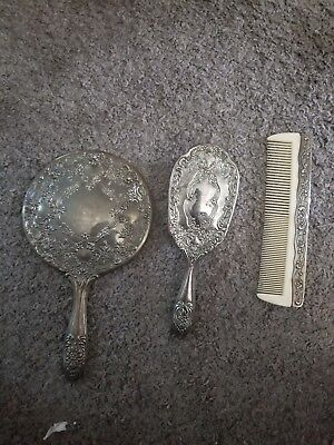 Vintage Silver plated Mirror Comb Brush Vanity Set 3 mirror missing from mirror.