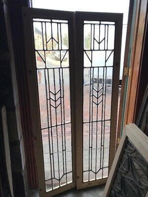 SG 2445 match. Antique all beveled glass sidelight windows 16.5 x 66.25