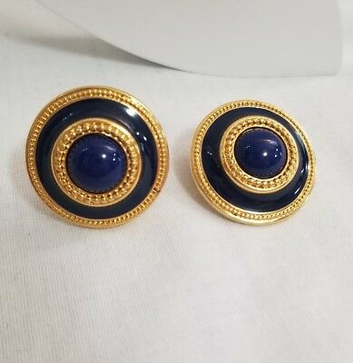 Monet Signed Large Button Dome Earrings Navy Blue Enamel Gold Tone Clip On