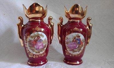 2 Vintage Limoges Porcelain Bud  Vases / Urns 10.5cm High, Heavily Gilded Top