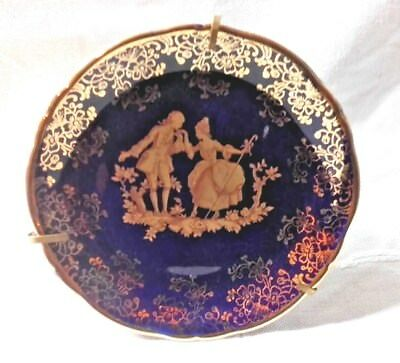 Limoges Cobalt Blue & Gold Small Dispaly Cabinet Plate Romantic Couple