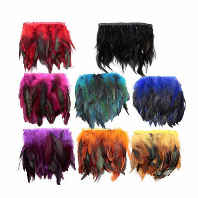 1 Yard Rooster Hackle Coque Feather Fringe Craft Trim Sewing Costume Millinery