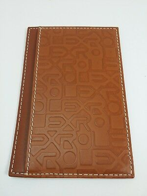 Vintage Rolex Brown Leather Note Pad Holder With extra Paper, Original Box.