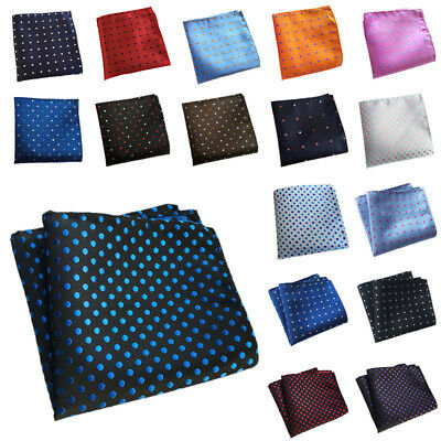 UK Fashionable Accessories Dots Men's Pocket Square Handkerchiefs Polyester CR3H