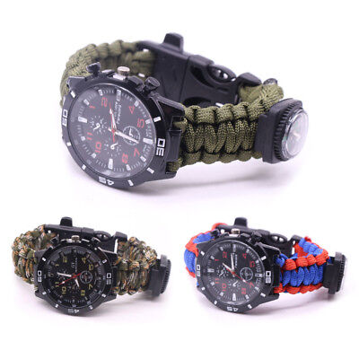 Outdoor Paracord Survival Watch Bracelet With Flint Fire Starter Compass KY