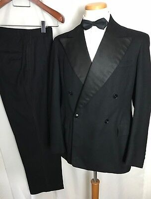 Vtg 40s 2pc Wool TUXEDO 40 R Double Breasted Suit tux DATED 1947 bespoke WEDDING