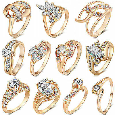 18K Gold Plated Women Ladies Rings Diamond Crystal Jewelry Wedding Gift Size 6-9