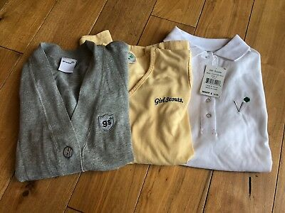 Girl Scouts Ladies Small Volunteer Shirts Cardigan Polo Lot of 3! EUC 1 W/Tag!