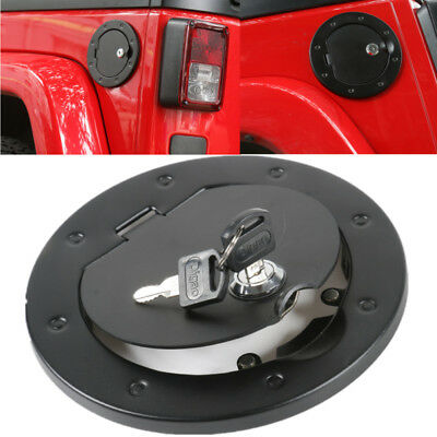 Locking Fuel Tank Cover Gas Lid For 2007 - 2017 Jeep Wrangler JK Aluminium Alloy