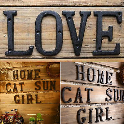 Retro Black Iron Antique Number Metal Door Numbers Letters Numeral Wall Signs