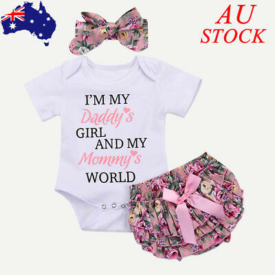 AU Baby Girls 3PCs Outfits Set Headband Tops Pant Newborn Infant Clothes Romper