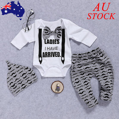 AU Baby Boys Gentleman Suit Newborn Infant Toddler Clothes Outfits Romper Top