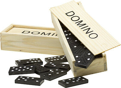 WOODEN DOMINOES BOX Set of 28 Toy Traditional Childrens Domino Tumbling Vintage