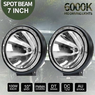 """2x 7INCH 7"""" 100W DRIVING LIGHTS HID XENON 12V SPOT OFF ROAD UTE WORK"""