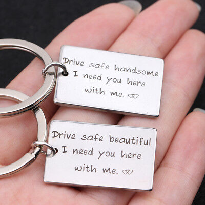 2pcs Couple Keyring Drive Safe Handsome&Beautiful I Need You Here With Me Keyfob