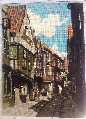 Fab Vtg Completed Anchor Needlepoint Tapestry The Shambles York