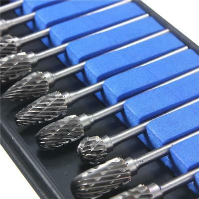 "10 PCS Tungsten Carbide Burr 1/8"" 3mm Rotary Cutter Files Set CNC Engraving 10mm"