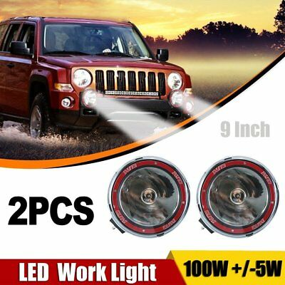 2x 9inch 100W HID Spot Driving Lights XENON Spotlights Off Road 4WD Work 12V Red