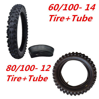 "Front 60/100- 14"" + 80/100- 12"" Rear KnobbY Tyre Tire +Inner Tube Set Dirt Bike"