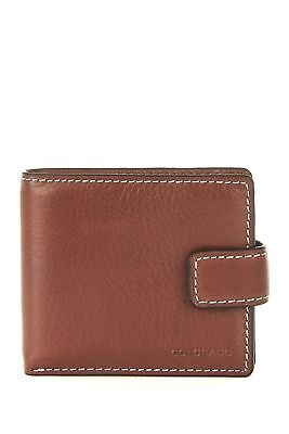 New Colorado Leather RFID Deluxe Tabbed Mens Wallet Chestnut by-Strandbags