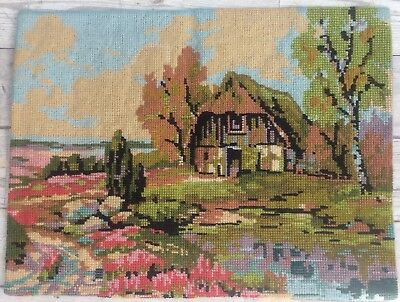 Fab Vtg Completed Needlepoint Tapestry Spring Country Cottage English Garden