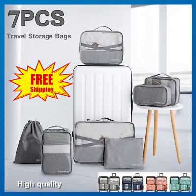 7Pcs Waterproof Clothes Storage Bags Packing Cube Travel Luggage Organizer Pouch