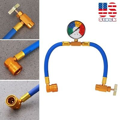 R134A Recharge Measuring Hose A/C Refrigerant Charging Pipe Hot w/ Gauge Adapter