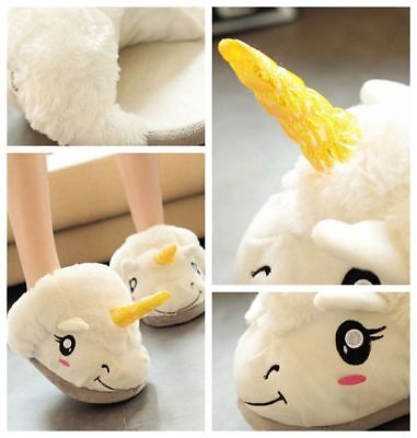 UK Men Women Plush Cute Unicorn Slippers Winter Warm Soft Home Indoor Shoes VG4