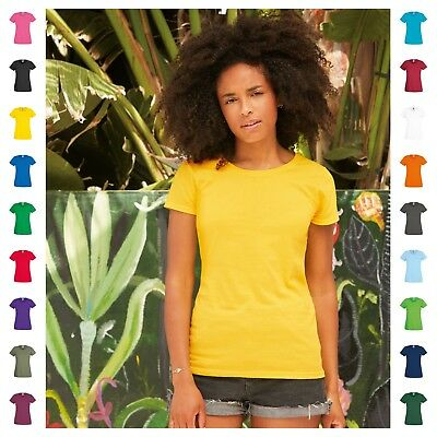 Womens Crew Neck T-Shirt Tee Fruit of the Loom Cotton Plain Short Sleeve Top