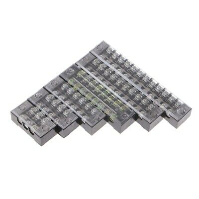 600V 15A 3-12 Positions Dual Row Barrier Screw Terminal Block Wire Connector